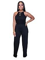 cheap -Jumpsuits Elegant Minimalist Holiday Party Wear Dress Halter Neck Sleeveless Floor Length Spandex with Sash / Ribbon 2020