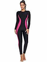 cheap -women's one piece rash guard zip front, full body swimsuit wetsuit, sun protection long sleeve dive skin surf suit s-xxxl(4xl(us 24-26), black pink)