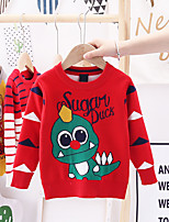 cheap -Kids Boys' Basic Dinosaur Solid Colored Animal Print Long Sleeve Blouse Red