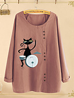 cheap -Women's Blouse Cat Long Sleeve Round Neck Tops Basic Top Purple Blushing Pink
