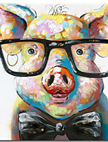 cheap -100% Hand painted Canvas Painting Abstract Animal Pig Oil Painting Wall Pictures for Living Room Cuadros Home Decor Rolled Without Frame