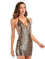 cheap -Women's A-Line Dress Short Mini Dress - Sleeveless Solid Color Backless Sequins Embroidered Summer Halter Neck Sexy Party Club 2020 Gold S M L XL
