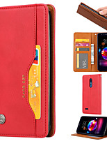 cheap -Case For LG K10 2018  K8 2018 Card Holder  Shockproof  Magnetic Full Body Cases Solid Colored PU Leather  TPU