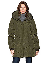 cheap -women's long heavy weight puffer jacket, olive, small