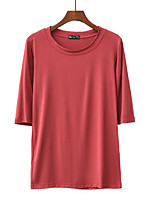 cheap -Women's Blouse Shirt Solid Colored Round Neck Tops Loose Basic Basic Top White Black Red