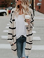 cheap -Women's Basic Knitted Striped Cardigan Long Sleeve Loose Sweater Cardigans V Neck Fall Winter Wine Beige