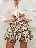 cheap -Women's Daily Wear Sexy Mini Skirts Leopard Chiffon