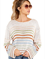 cheap -Women's Basic Knitted Striped Pullover Long Sleeve Loose Sweater Cardigans Crew Neck Round Neck Fall Winter White