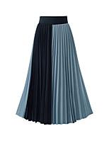 cheap -Women's Daily Wear Basic Midi Skirts Color Block Pleated Chiffon