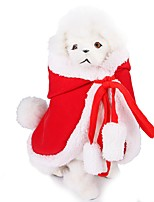 cheap -Dog Cat Costume Coat Solid Colored Sweet Style Wrap Included Winter Dog Clothes Red Costume Flannel Fabric S M L