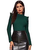 cheap -women& #39;s stand collar slim fit frilled ruffles shoulder solid keyhole blouse top green#1 large