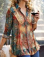 cheap -Women's Blouse Floral Long Sleeve Shirt Collar Tops Basic Top Blue Red Yellow