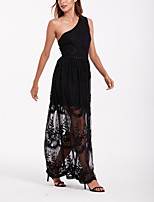 cheap -Sheath / Column Maxi Boho Party Wear Prom Dress One Shoulder Sleeveless Floor Length Lace with Lace Insert 2020