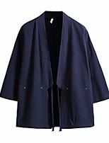 cheap -men's kimono traditional japanese clothing male cardigan noragi jacket yukata coat haori navy, medium