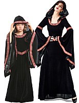 cheap -Witch Dress Cosplay Costume Group Costume Kid's Adults' Women's Cosplay Halloween Halloween Festival / Holiday Plush Fabric Black / Drak Red Women's Easy Carnival Costumes