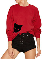 cheap -Women's Sweatshirt Cartoon Crew Neck Cotton Cat Sport Athleisure Pullover Long Sleeve Warm Soft Comfortable Everyday Use Causal Exercising General Use
