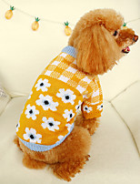 cheap -Dog Coat Sweater Plaid / Check Casual / Daily Cute Casual / Daily Winter Dog Clothes Warm Yellow Red Costume Polyster XS S M L XL