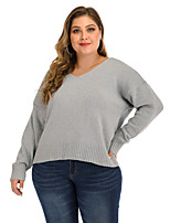 cheap -Women's Stylish Basic Open Back Knitted Solid Color Plain Pullover Long Sleeve Plus Size Oversized Sweater Cardigans V Neck Fall Winter Gray