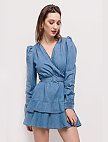 cheap -Women's Denim Dress Knee Length Dress - Long Sleeve Solid Color Patchwork Summer V Neck Casual Puff Sleeve Cotton Slim 2020 Blue S M L
