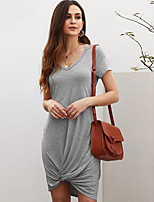 cheap -Women's A-Line Dress Knee Length Dress - Short Sleeve Solid Color Patchwork Summer V Neck Casual Daily Slim 2020 Black Blue Red Gray S M L XL