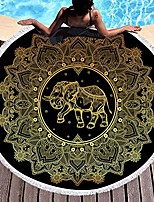 cheap -gold elephant floral beach towel, round beach towel blanket with tassels, boho round tapestry, circle beach mats & #40;10& #41;