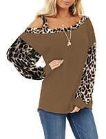 cheap -Women's Blouse Leopard Color Block Long Sleeve Patchwork Off Shoulder Tops Basic Basic Top Black Blue Wine
