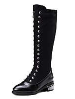 cheap -Women's Boots Wedge Heel Round Toe British Daily Solid Colored Nubuck Knee High Boots Black