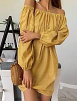 cheap -Women's Shift Dress Short Mini Dress - Long Sleeve Plaid Summer Off Shoulder Casual Lantern Sleeve 2020 Gold S M L XL