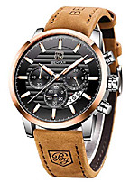 cheap -benyar quartz chronograph waterproof watches business and sport design leather band strap wrist watch for men (brown black)