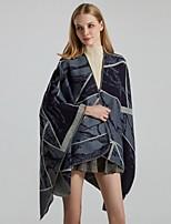 cheap -Women's Cloak / Capes Regular Geometric Daily Basic Blue Wine Camel One-Size