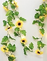 cheap -10M 100LEDs Fake Sunflower Ivy Vine Artificial Flowers With Leaves Hanging Garland Garden Fences Home Wedding Decoration