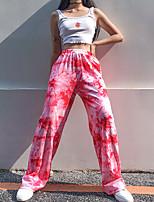 cheap -Women's Streetwear Daily Wide Leg Pants Tie Dye Breathable Red S M L