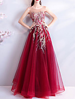 cheap -A-Line Elegant Sexy Wedding Guest Formal Evening Dress Jewel Neck Sleeveless Floor Length Tulle with Beading Sequin Appliques 2020