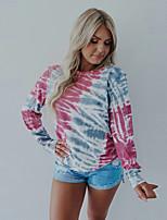 cheap -Women's Blouse Shirt Tie Dye Long Sleeve Round Neck Tops Basic Basic Top Blushing Pink