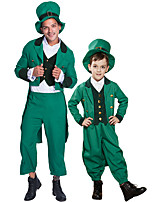 cheap -Magician Cosplay Costume Outfits Group Costume Kid's Adults' Men's Cosplay Halloween Halloween Festival / Holiday Polyester Green Men's Women's Easy Carnival Costumes / Coat / Vest / Pants / Hat