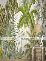 cheap -Custom Self Adhesive Mural Wallpaper Tropical Rainforest Leaves For Bedroom Living Room Cafe Restaurant Hotel Wall Decoration Art  Wall Cloth Room Wallcovering