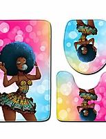 cheap -afro black woman skidproof toilet seat bath mat 3 piece set bathroom floor mat pedestal