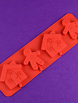 cheap -Cake Molds Christmas Silicone Cake Molds Everyday Use 4 Company Christmas Snowman House Gingerbread Man