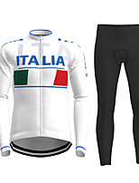 cheap -21Grams Men's Long Sleeve Cycling Jersey with Tights Winter Polyester White Novelty Bike Jersey Tights Clothing Suit Breathable Quick Dry Moisture Wicking Back Pocket Sports Novelty Mountain Bike MTB