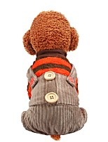 cheap -Dog Coat Jumpsuit Stripes Casual / Daily Cute Casual / Daily Winter Dog Clothes Warm Yellow Fuchsia Orange Costume Polyster XS S M L XL