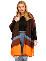 cheap -Women's Oversized Knitted Color Block Cardigan Short Sleeves Plus Size Loose Oversized Sweater Cardigans V Neck Fall Winter Rainbow