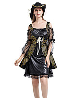 cheap -Pirate Dress Cosplay Costume Outfits Adults' Women's Cosplay Halloween Halloween Festival / Holiday Polyester Black Women's Easy Carnival Costumes / Hat / Hat