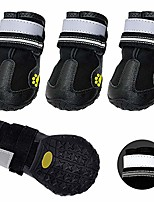 cheap -waterproof dog boots shoes, dog hiking boots, reflective and anti-slip sole dog shoes fit medium large dogs, labrador, german shepherd,black,4# size