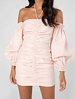 cheap -Women's Sheath Dress Short Mini Dress - Long Sleeve Solid Color Backless Ruched Summer Halter Neck Sexy Party Club 2020 Blushing Pink S M L