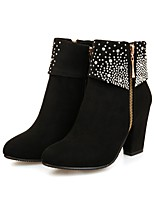 cheap -Women's Boots Wedge Heel Round Toe Sexy Outdoor Rhinestone Solid Colored Nubuck Booties / Ankle Boots Walking Shoes Black / Red / Blue