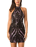 cheap -Women's A-Line Dress Short Mini Dress - Sleeveless Solid Color Backless Sequins Mesh Summer Halter Neck Sexy Party Club Skinny 2020 Black S M L XL