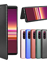cheap -Case For Sony Xperia 1 Xperia 1II Xperia 10 Xperia 10II Xperia 10 Plus Xperia XZ3 Xperia L4 Xperia 5  Wallet Shockproof Magnetic Full Body Cases Solid Colored Carbon Fiber TPU