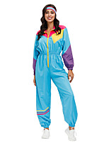 cheap -Hippie Disco Cosplay Costume Outfits Adults' Women's Cosplay Halloween Halloween Festival / Holiday Polyester Blue Women's Easy Carnival Costumes / Leotard / Onesie / Headwear / Leotard / Onesie
