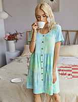 cheap -Women's Shift Dress Knee Length Dress - Short Sleeve Tie Dye Button Print Summer Casual Daily Slim 2020 Blue Green S M L XL