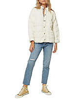 cheap -women's quilted button front jacket (winter white/mable, s)